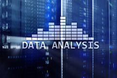 Big Data analysis text on server room background. Internet and modern technology concept.  Royalty Free Stock Photo