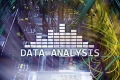 Big Data analysis text on server room background. Internet and modern technology concept. Big Data analysis text on server room background. Internet and modern Royalty Free Stock Image