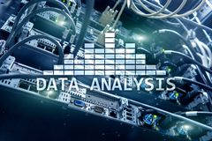 Big Data analysis text on server room background. Internet and modern technology concept.  stock image