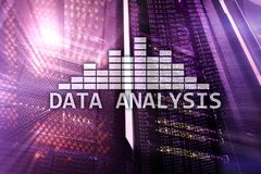Big Data analysis text on server room background. Internet and modern technology concept.  stock photos