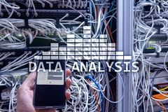 Big Data analysis text on server room background. Internet and modern technology concept.  stock images