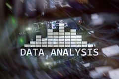 Big Data analysis text on server room background. Internet and modern technology concept.  royalty free stock images