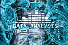 Big Data analysis text on server room background. Internet and modern technology concept.  stock photo