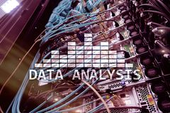 Big Data analysis text on server room background. Internet and modern technology concept.  stock photography