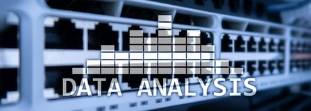 Big Data analysis text on server room background. Internet and modern technology concept.  royalty free stock photography