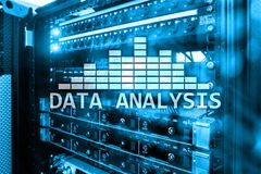 Big Data analysis text on server room background. Internet and modern technology concept.  royalty free stock image