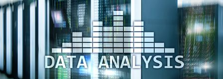 Big Data analysis text on server room background. Internet and modern technology concept. Big Data analysis text on server room background. Internet and modern royalty free stock images