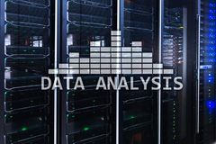 Big Data analysis text on server room background. Internet and modern technology concept. Server room. Big Data analysis text on server room background stock photos