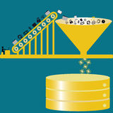 Big data analysis to database Royalty Free Stock Photos