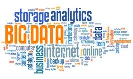 Big data analytics. Big data - market information analytics concept. Word cloud stock illustration