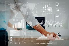 Big data analytics with business intelligence (BI) concept.Busin. Investor analyzing stock market report and financial dashboard with business intelligence (BI Stock Images
