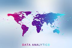 Big data analytics and business intelligence. Digital analytics concept with graph and charts. Financial schedule World. Map infographic. Vector illustration Stock Photos