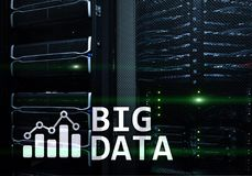 Big data analytics, internet and modern technology concept on server room background.  Stock Photography