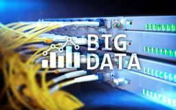 Big data analytics, internet and modern technology concept on server room background.  Stock Image