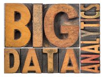 Big data analytics word abstract in wood type Royalty Free Stock Photo