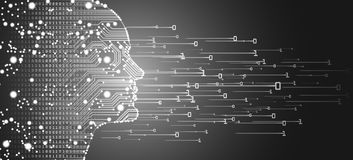 Big data and artificial intelligence concept. Machine learning and cyber mind domination concept in form of men face outline outline with circuit board and stock image