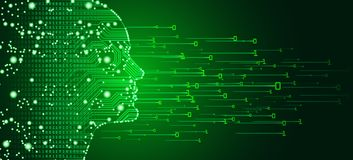 Big data and artificial intelligence concept. Machine learning and cyber mind domination concept in form of men face outline outline with circuit board and stock photo