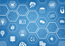 Big data background with hexagon shapes and symbols Royalty Free Stock Photos