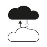 Big data Black and white cloud share Vector black icon on white background. Stock Images