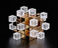Big data blockchain concept. Blockchain digital illuminated shape transparent glass blocks boxes combines with golden big one. Big data node base concept. 3d Stock Images