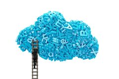 Big data. Blue characters in cloud shape with businessman climbing. Big data and cloud computing concept.Businessman climbing wooden ladder to cloud of blue stock illustration
