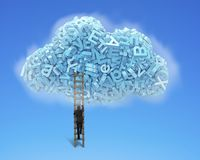 Big data. Blue characters in cloud shape with businessman climbing stock photo