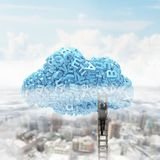 Big data. Blue characters in cloud shape with businessman climbing vector illustration