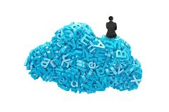 Big data. Blue characters in cloud shape with businessman sitting. Big data and cloud computing concept. Rear view of businessman sitting on cloud of blue stock photos