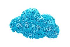 Big data. blue characters in cloud shape. 3D illustration. Big data and cloud computing concept. Blue letters and numbers in blue cloud shape, isolated on white royalty free stock image