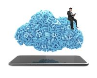 Big data. blue characters cloud shape. Smart tablet. Businessman sitting stock image
