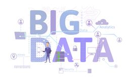 Big data business concept, infographics vector illustration, isolated on white. stock illustration