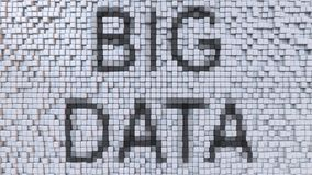 BIG DATA caption on fluctuating pixels background, 3D rendering. BIG DATA caption on pixels background Royalty Free Stock Photography