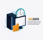 Big data center base and web hosting icon set Royalty Free Stock Photo