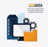 Big data center base and web hosting icon set. Computer gears and file icon. Big data center base and web hosting theme. Colorful design. Vector illustration Royalty Free Stock Photo