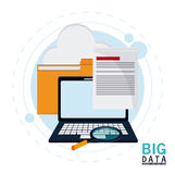 Big data center base and web hosting icon set. Document file cloud laptop and lupe icon. Big data center base and web hosting theme. Colorful design. Vector Stock Image