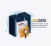 Big data center base and web hosting icon set. Document file and lupe icon. Big data center base and web hosting theme. Colorful design. Vector illustration Stock Image