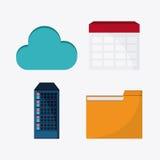 Big data center base and web hosting icon set. File cloud and calendar icon. Big data center base and web hosting theme. Colorful design. Vector illustration Royalty Free Stock Image