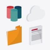 Big data center base and web hosting icon set. File document and cloud icon. Big data center base and web hosting theme. Colorful design. Vector illustration Royalty Free Stock Image