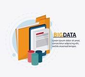 Big data center base and web hosting icon set. File smartphone and document icon. Big data center base and web hosting theme. Colorful design. Vector Royalty Free Stock Image