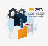 Big data center base and web hosting icon set. Gears document file and cloud icon. Big data center base and web hosting theme. Colorful design. Vector Stock Photography