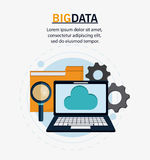 Big data center base and web hosting icon set. Laptop cloud gears lupe and file icon. Big data center base and web hosting theme. Colorful design. Vector Royalty Free Stock Images