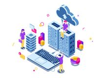 Big data center, server room rack, engineering process, teamwork, computer technology, cloud storage, command work. Isometric people vector illustration vector illustration