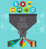 Big data chart. Big data scheme of functioning new technology Royalty Free Stock Photography
