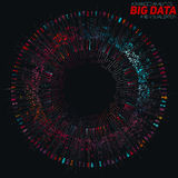 Big data circular colorful visualization. Futuristic infographic. Information aesthetic design. Visual data complexity. Complex data threads graphic Royalty Free Stock Photography