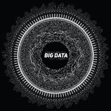 Big data circular grayscale visualization. Futuristic infographic. Information aesthetic design. Visual data complexity. Complex data threads graphic. Social Royalty Free Stock Images