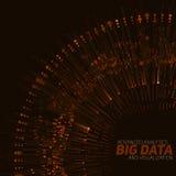 Big data circular orange visualization. Futuristic infographic. Information aesthetic design. Visual data complexity. Royalty Free Stock Photos