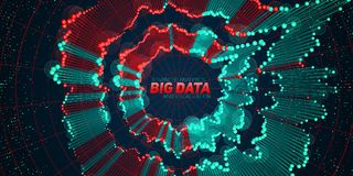 Big data circular visualization. Futuristic infographic. Information aesthetic design. Visual data complexity. Complex. Data threads graphic. Social network Stock Image
