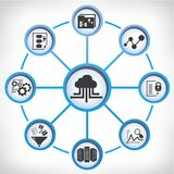 Big data and cloud computing. Diagram, network background Stock Image