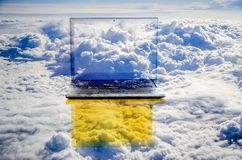 Big data, cloud computing. Spawned by advances in robotics, big data, cloud computing and mobile, the revolution could replace millions of jobs royalty free stock photo
