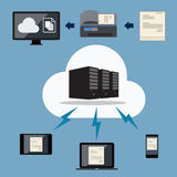 Big data. Cloud document storage. Vector flat design Stock Image